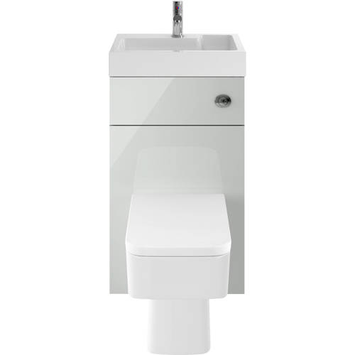 Additional image for 2 In 1 BTW Unit With Basin & Cistern 500mm (Gloss Grey Mist).