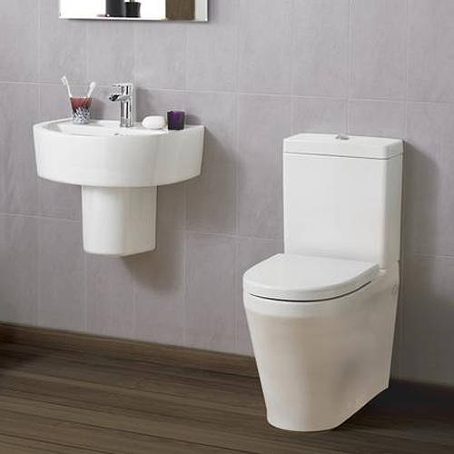 Additional image for Flush To Wall Toilet With 420mm Basin & Semi Pedestal.