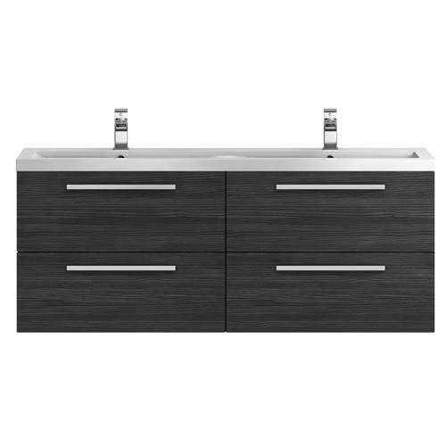 Additional image for Wall Vanity Unit & Double Basin 1440mm (H Black).