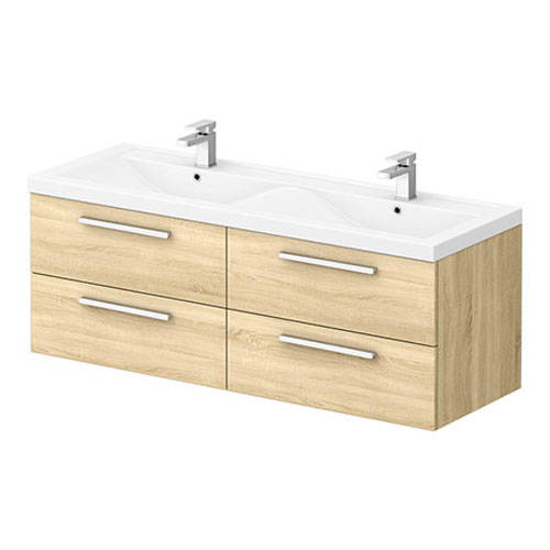 Additional image for Wall Vanity Unit & Double Basin 1440mm (N Oak).