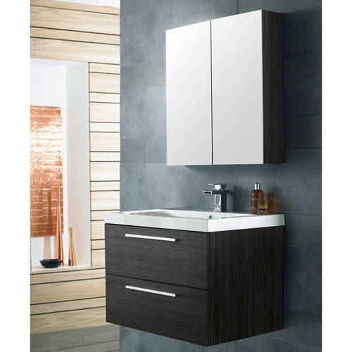 Additional image for Wall Hung Vanity Unit Pack With Cabinet (H Black).