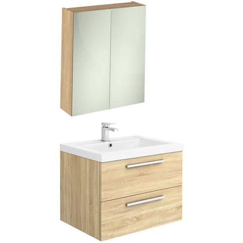 Additional image for Wall Hung Vanity Unit Pack With Cabinet (Natural Oak).