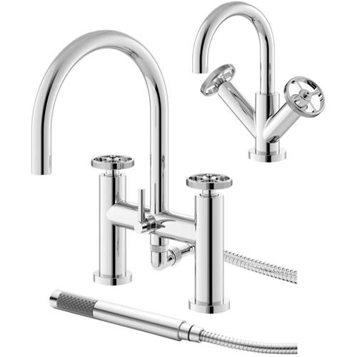 Additional image for Basin & Bath Shower Mixer Tap With Industrial Handles (Chrome).