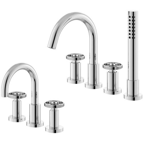 Additional image for 3 Hole Basin & 4 Hole Bath Shower Mixer Tap (Industrial).