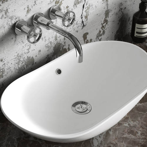 Additional image for Wall Mounted Basin & BSM Tap With Industrial Handles.