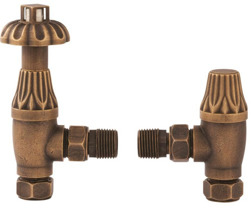 Additional image for Thermostatic Antique Radiator Valves Pack Angled (Brass, Pair).