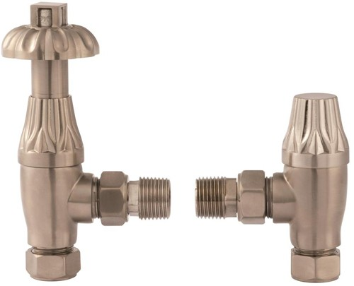Additional image for Thermostatic Antique Radiator Valves Pack Angled (Nickel, Pair).