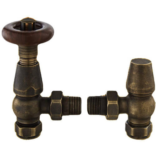 Additional image for Camden Thermostatic Radiator Valve Pack (Antique Brass).