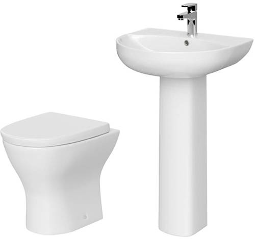 Additional image for Bathroom Suite With BTW Pan, Basin & Full Pedestal.