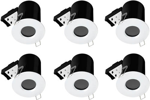 Additional image for 6 x Fire & Acoustic Spot Light & C White LED Lamps (White).