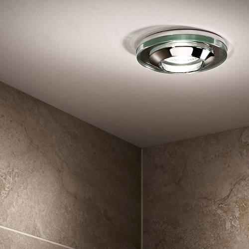 Additional image for 4 x Round Shower Light Fitting (240v, Glass & Chrome).