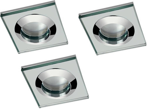 Additional image for 3 x Spot Light & Cool White LED Lamps (Glass & Chrome).