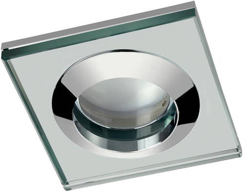 Additional image for 4 x Square Shower Light Fitting (240v, Glass & Chrome).