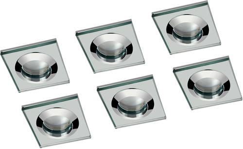 Additional image for 6 x Square Shower Light Fitting (240v, Glass & Chrome).