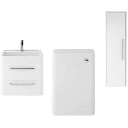 Additional image for Wall Hung 600mm Vanity Unit, BTW & Tall Unit (White).