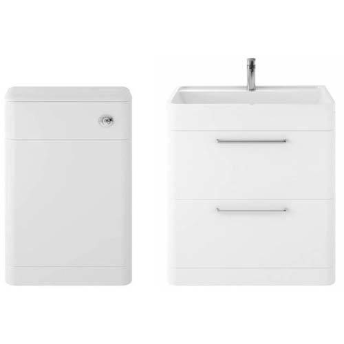 Additional image for Floor Standing 800mm Vanity Unit & BTW Pack (Pure White).