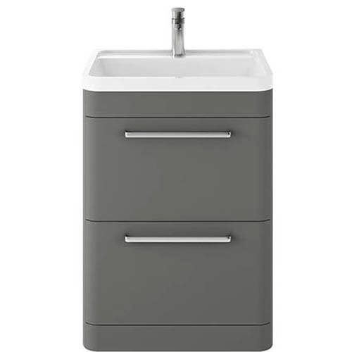 Additional image for Floor Standing Vanity Unit & Basin 600mm (Cool Grey).