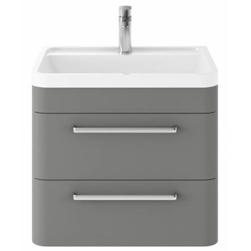 Additional image for Wall Hung Vanity Unit & Basin 600mm (Cool Grey).