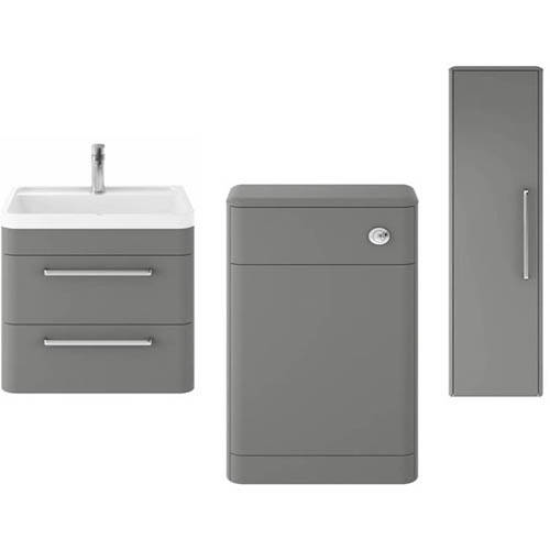 Additional image for Wall Hung 600mm Vanity Unit, BTW & Tall Unit (Grey).
