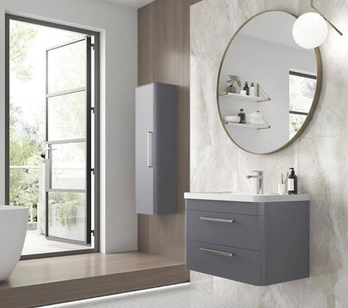Additional image for Wall Hung 800mm Vanity Unit, BTW & Tall Unit (Grey).