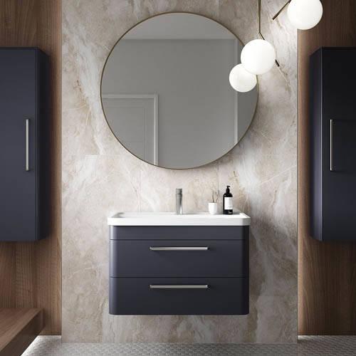 Additional image for Wall Hung Vanity Unit & Basin 600mm (Indigo Blue).