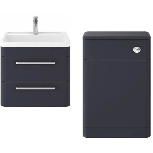 Additional image for Wall Hung 600mm Vanity Unit & BTW Pack (Indigo Blue).