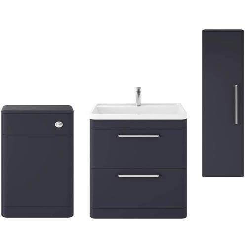 Additional image for Floor Standing 800mm Vanity Unit, BTW & Tall Unit (Blue).
