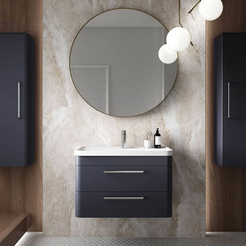 Additional image for Wall Hung 800mm Vanity Unit, BTW & Tall Unit (Blue).