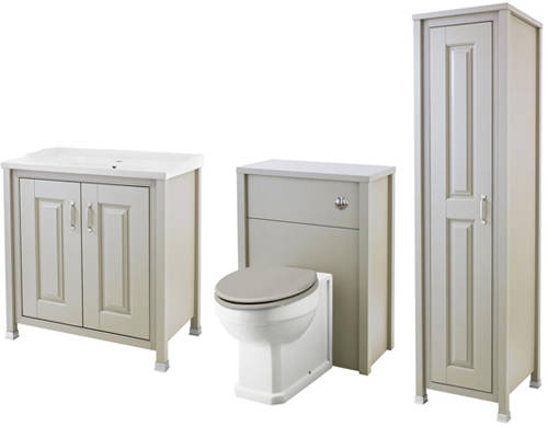 Additional image for 800mm Vanity, 600mm WC & Tall Unit (Stone Grey).