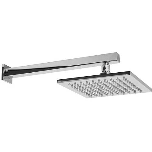 Additional image for Square Shower Head With Wall Arm (200x200mm, S Steel).