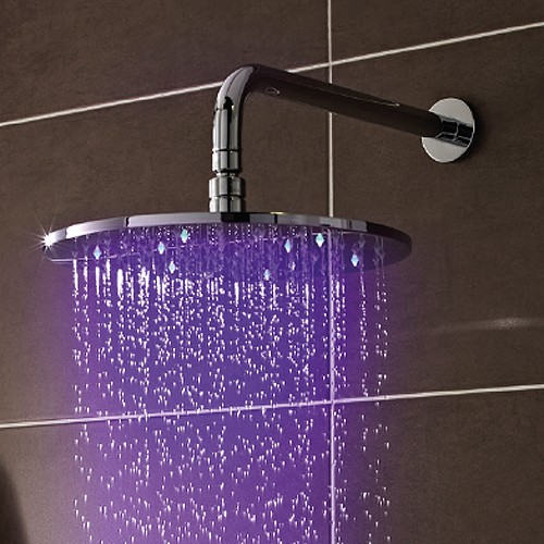 Additional image for LED Round Shower Head (200mm, Chrome).