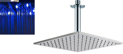 Additional image for Square LED Shower Head With Ceiling Arm (300x300mm).