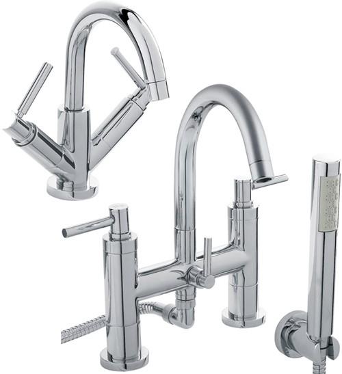 Additional image for Basin & Bath Shower Mixer Tap Set (Free Shower Kit).