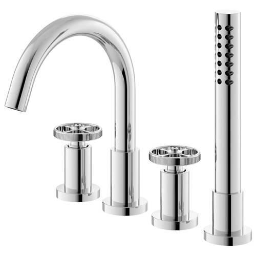 Additional image for 4 Hole Bath Shower Mixer Tap With Industrial Handles (Chrome).