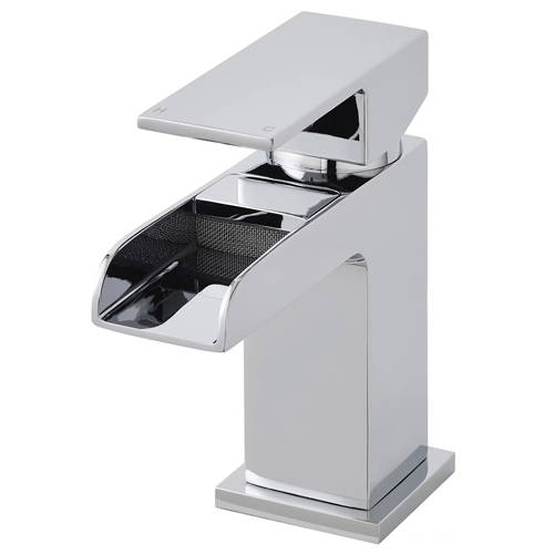 Additional image for Mini Waterfall Basin Mixer Tap With Push Button Waste (Chrome).