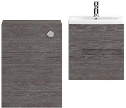 Additional image for 500mm Wall Vanity With 600mm WC Unit & Basin 2 (Grey Avola).