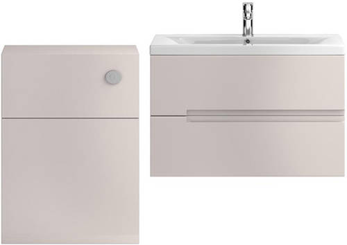 Additional image for 800mm Wall Vanity With 600mm WC Unit & Basin 1 (Cashmere).