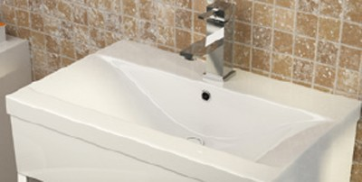 Additional image for Vanity Unit With Doors & Basin (White). 1000x800mm.