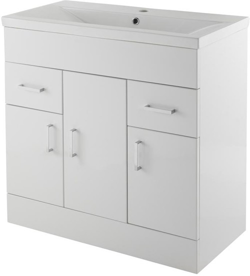 Additional image for Vanity Unit With Doors & Basin (White). 800x800mm.