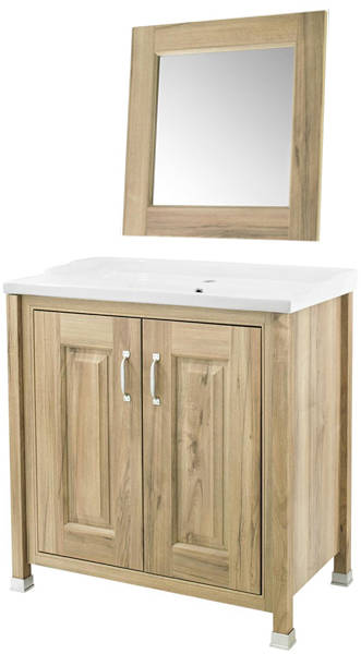 Additional image for 800mm Vanity & 600mm Mirror Pack (Walnut).