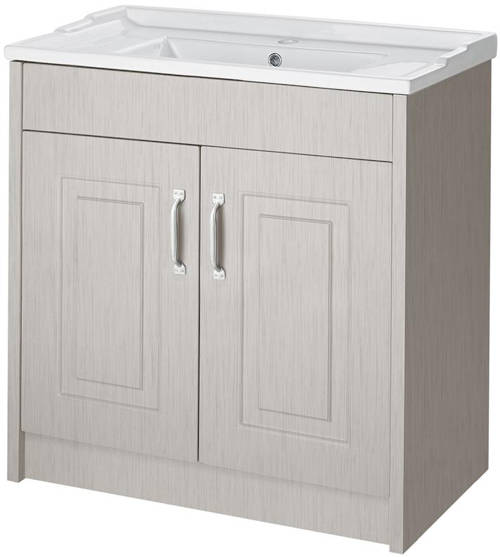 Additional image for 800mm Vanity, 500mm WC Unit & Mirror Cabinet Pack (Grey).