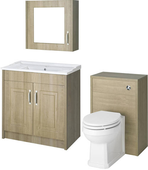 Additional image for 800mm Vanity, 500mm WC Unit & Mirror Cabinet Pack (Oak).