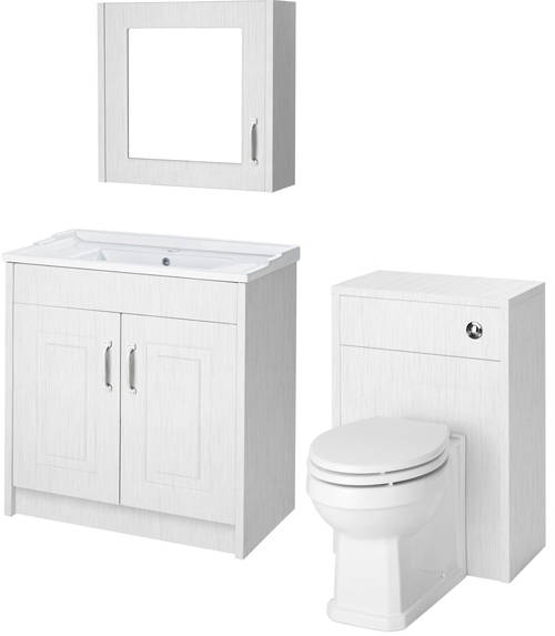 Additional image for 800mm Vanity, 500mm WC Unit & Mirror Cabinet Pack (White).
