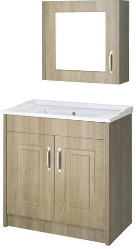 Additional image for 800mm Vanity Unit & Mirror Cabinet Pack (Oak).