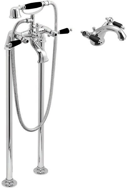 Additional image for Basin Mixer & Floorstanding BSM Tap Pack (Chrome & Black).