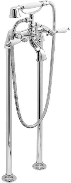 Additional image for Floor Mounted Bath Shower Mixer Tap (Chrome & White).