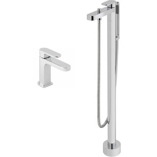 Additional image for Floor Standing Bath Shower Mixer & Basin Mixer Taps Pack (Chrome).