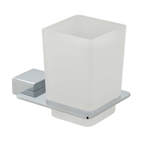 Additional image for Frosted Glass Tumbler & Holder (Chrome).