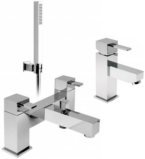 Additional image for Bath Shower Mixer & Basin Mixer Taps Pack With Shower Kit.