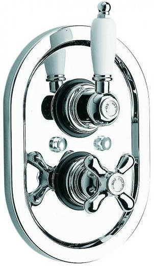 "Additional image for Thermostatic Shower Valve (Chrome & White, 3/4"")."